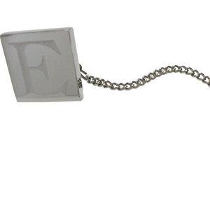 Letter E Etched Monogram Pendant Tie Tack